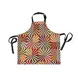 MONTOJ buntes Quit Muster strapazierfähige Arbeitsschürze mit Taschen Kreuz-Rückengurte &...