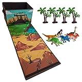 Moji Zusammenklappbarer Spielzeugbehälter mit 6 Dinosaurier und 4 Bäume, leicht zusammenklappbarer...