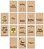 Edition Seidel Set 16 exklusive Premium Geburtstagskarten mit Briefumschlag gedruckt auf...