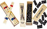 Spielesammlung aus Holz (Domino und Mikado) mit Praktischem Schiebedeckel und Spielanleitung (2er...
