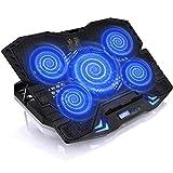QCHEA 17-Zoll-Laptop-Kühler mit 5 Lüftern, Einstellbarer Neigung und roter Hintergrundbeleuchtung...
