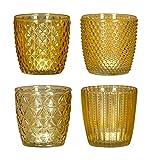 levandeo 4er Set Windlicht H7,5cm Glas Gelb Teelichthalter Kerzen Retro Kerze Kerzenhalter Tischdeko...
