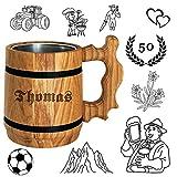 Bier Geschenk personalisiert - Holz Bierkrug mit Edelstahl Becher 0,5 L - Gravur mit Name - für...