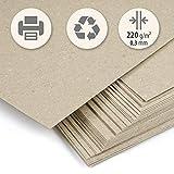 50 Blatt dickes Recyclingpapier beige Kraft klar DIN A4 220 g/m² Kompaktkarton zum Drucken,...