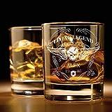 Smyla Whiskyglas mit Gravur (Totenkopf-Design) | Whiskey-Glas mit massivem Boden personalisierbar...