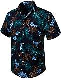 HISDERN Herren Funky Kokosnussbaum Hawaiihemd Unisex Kurzarm Vordertasche Urlaub Sommer Aloha...