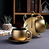 Royal Household Gold Keramik Frost Kaffeebecher und Untertasse Goldener Teelöffel Set Edle Teetasse...