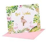 Bonarty Flamingo Papier Gruß Karten Beste Wünsche Für Hochzeits Geburtstags Gastgeschenk