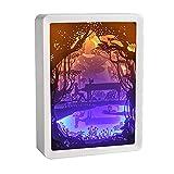 wyingj Schnitzende Papierlampe 3D, Heller Papierkasten, Schlafzimmernachtlicht, Romantisches...