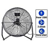 Display4top 50 cm Schwarz 3 Geschwindigkeit Bodenventilator Ventilator Ideal für Fitnessstudios,...