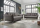 lifestyle4living Couchgarnitur in grauem Stoff bezogen, Garnitur bestehend aus 2-Sitzer und 3-Sitzer...