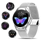 Smartwatch für Damen, elegant und hochwertig, Edelstahl, IP68, wasserdicht, Smartwatch,...