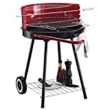 Outsunny Holzkohlegrill Rundgrill Standgrill auf Rollen mit Ablage Rost BBQ Metall Rot L70 x B51 x...