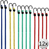 Deuba 12x Spanngummi Set Metallhaken | 4 Größen 30-95 cm | Expander Gepäckspanner Universal...