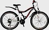 Rezzak 24 Zoll Mountainbike Kinderfahrrad Jungenfahrrad Mädchenfahrrad vollgefedert 21 Gang Shimano