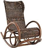 korb.outlet Schaukelstuhl Luxor Natur Rattan Zebrano Braun Schwarz Schaukler Relax-Stuhl...