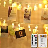 Mitening Lichterkette mit Klammern für Fotos, 8 Modi 40 LED Fotoclips Lichterketten...