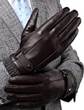 FLY HAWK  Lederhandschuhe, Herren Winterhandschuhe aus Echtem Leder Touchscreen Elegant Handschuhe...