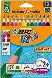 Bic Kids ECOlutions Evolution, 12 Kinder-Buntstifte, Ergonomische Dreikant-Malstifte ab 2 Jahre