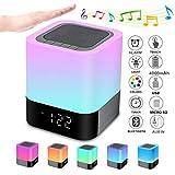 Bluetooth Lautsprecher mit Licht Nachttischlampe Touch Dimmbar Wecker Nachtlicht RGB Farbwechsel LED...