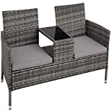 TecTake 403223 Polyrattan Gartensitzbank mit Tisch, 2-Sitzer, für Garten, Balkon und Terrasse,...