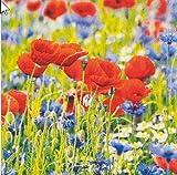Tischdeko 20 Servietten Mohnblumen Blumenwiese Sommer