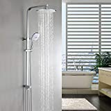 WOOHSE Duschsystem Edelstahl mit Regendusche ABS Duschsule ohne Armatur Duscharmatur Brauseset mit...