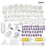 Soleebee 114-Teiliges Fondant Ausstecher Set Ausstechformen für Buchstaben, Zahlen, Rose Blume...