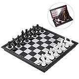 iBaseToy 3 in 1 Schachspiel Magnetisch Dame Spiel Backgammon für Kinder und Erwachsene, Reise Klein...