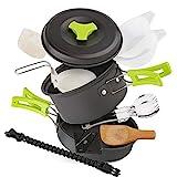 EXTSUD Camping Kochgeschirr Campinggeschirr Ultraleicht Picknick 12-Teilig Cookware Kit mit...