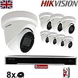 Hikvision DS-2CD2385G1-I DS-7608NI-K2 Überwachungskameras, 8 x 8 MP, 4 K, 30 m,...