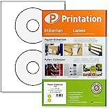 CD DVD Etiketten weiß selbstklebend rund blickdicht bedruckbar - 50 Aufkleber/Sticker auf 25 Blatt...