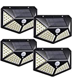 Solarleuchten für Außen, 3 optionale Modi wasserdichte Bewegungssensor Leuchten 100 LED 270°...