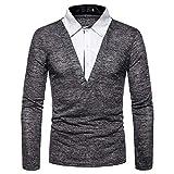YJNH Herren Pullover Polo Hemd Revers Langarm Slim-Fit Bequemer Patchwork 1/4 Button Fake Zwei...