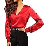 U/A Damen Hemden Knopf Sexy V-Ausschnitt Satin Bluse Langarm Elegant Tops Gr. X-Large, rot