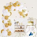 PartyBro Ballon-Girlande- & Bogen-Set   inkl. Luftballons in Weiß & Gold, Binde-Werkzeug,...