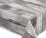 BEAUTEX Holz beige Wachstuch Tischdecke glatt abwischbar Garten Tischdecke RUND OVAL ECKIG, Gre...
