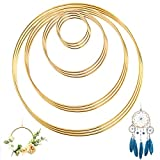 UIEEGPG Metallring 12 Stück 4 Größen Kranz Ringe (2 4 6 & 8 Zoll), Anti-Rost Gold Metall Ringe...