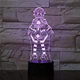 HXFGL 3D Nachtlampe 7 Farbwechsel Anime Girl LED Touch Tischlampe Kind Schlaf Licht Wohnzimmer...