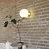 Sphärische Wandleuchte Moderner Minimalist Schlafzimmer Nachttischlampe Kreative Nordic Gold Voll...