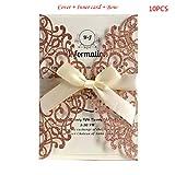 lailongp 10pcs schnitt Spitze-Funkeln-Hochzeits-Einladungs-Karten mit Band für...