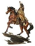 A.G.S. Deko Indianer Figur Krieger auf Pferd Dekoration Indianerfigur Wilder Westen