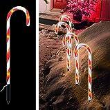 LED Zuckerstangen 4 er XXL Set Zucker Stangen Rot weiss Außenbeleuchtung Weihnachten...