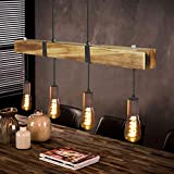 GBLY Vintage Pendelleuchte Holz Esstischlampe Retro Hängeleuchte mit 80CM Holzbalken, 4 x E27...