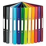 Idena 10426 - Ringbuch DIN A4, im 12er Set, 2-Ring-Mechanik, 20 mm breit, in 12 unterschiedlichen...