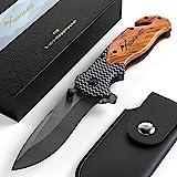 BERGKVIST® 3-in-1 Taschenmesser K19 Messer extra scharf I Klappmesser mit Holzgriff I Outdoor...