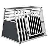 EUGAD Hundebox Transportbox Hundetransportbox Alu Reisebox Gitterbox Box L 80 x B 65 x H 65 cm...