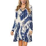 ARTFFEL Elastizität Gebatiktem Frauen Rockkleid Sommerkleider Auflage (Color : Tibetan Blue, Size :...