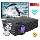 Lecxin Mini-Projektor, Mini-LED-Projektor 1080P HD Portable Schwarz Mit Fernbedienung Heimkino-Tool,...