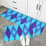 JINCAII Innentürmatte Blau Sauber Geometrisches Design rutschfeste Benutzerdefinierte Küchenmatte...